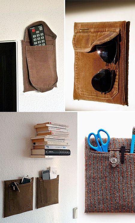 hmmm. repurposed pockets.: Art Crafts, Decoration Idea Diy'S, Old Shirts, Card, Wall Pocket, Organizations Idea, Shirts Pocket, Old Clothing, Upcycled Pocket