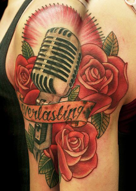 Niki norberg microphone with old school roses niki for Rose tattoo song