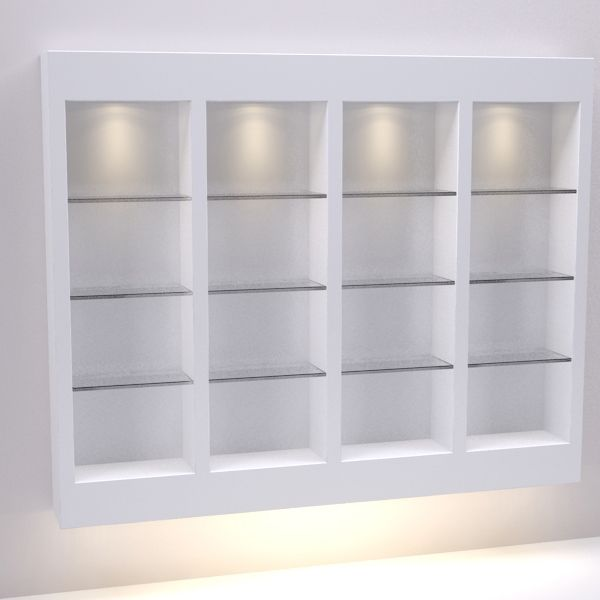 Display skincare, makeup, & haircare products in style with an interior illuminated set of 3 side-by-side glass shelving. Shop Michele Pelafas, Inc. today!