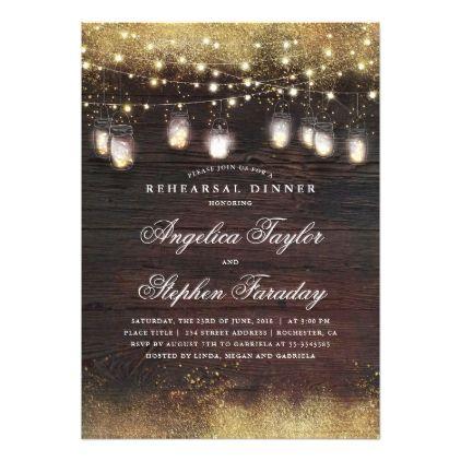 Mason Jar Lights Rustic Wood Rehearsal Dinner Card - glitter glamour brilliance sparkle design idea diy elegant