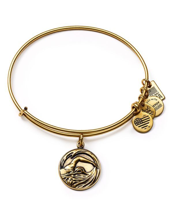 "Featuring a charm inspired by Team Usa Swimming, this Alex and Ani bangle makes a sporty statement. | Made in USA | 2.5"" diameter 