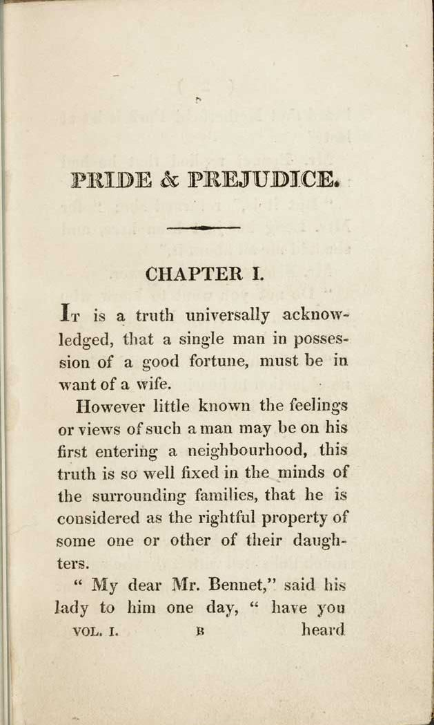 opening paragraph of pride and prejudice