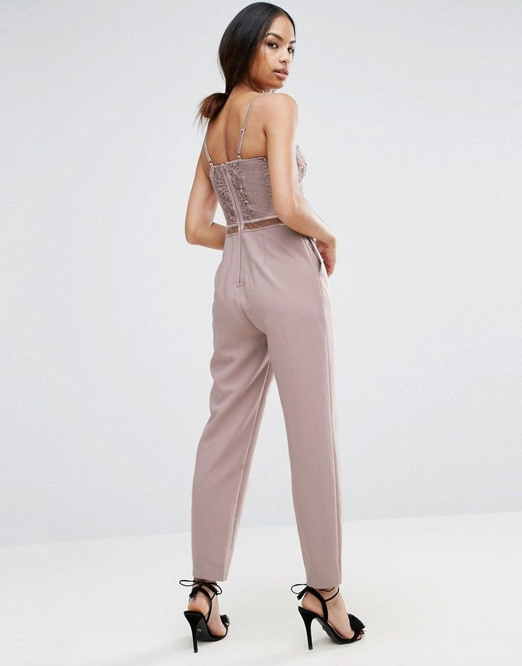 ASOS Jumpsuit with Delicate Lingerie Detail - Gray