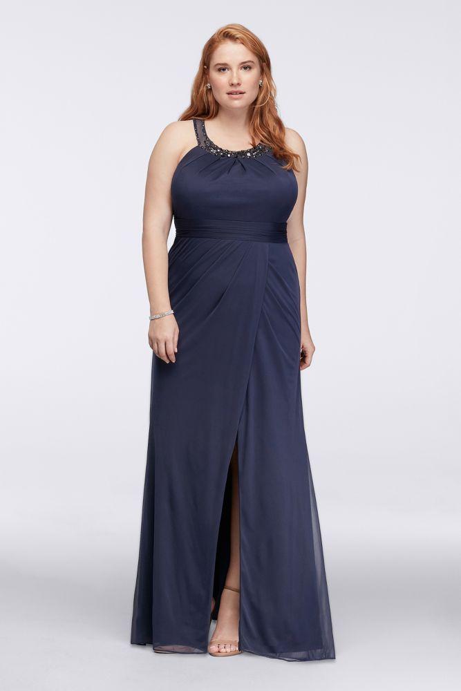 Beaded Illusion Collar Plus Size Long Dress Style WBM1057W