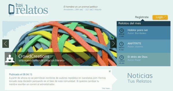 Nueva versión de TusRelatos, proyecto web para creación literaria y lectura online