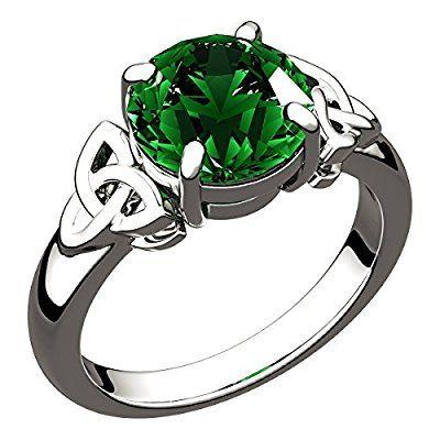 Sterling Silver Emerald Green CZ Diamond Birthstone Irish Celtic Trinity Knot Ring