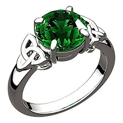 Sterling Silver Emerald Green CZ Diamond Birthstone Irish Celtic Trinity Knot Ring