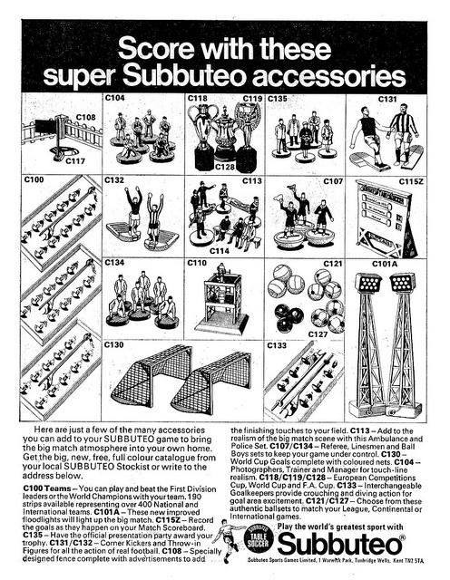 Subbuteo Accessories Ad 1976 by combomphotos, via Flickr