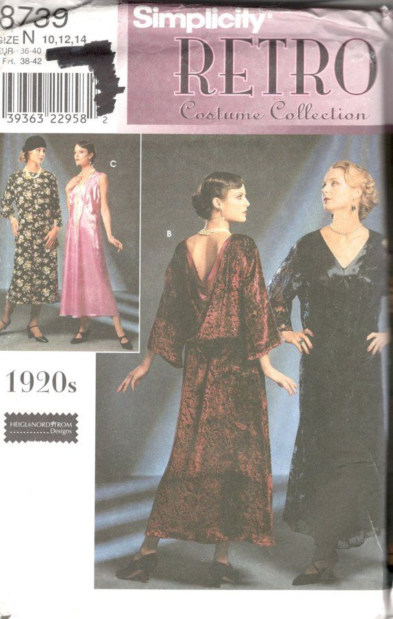 Simplicity 8739 1920s Dress Pattern Great Gatsby Downton Abbey Fler Womens Costume Size 10 12 14 Bust 32 34 36 Or 16 18 20 4 6 8 Uncut