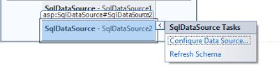 ASP.NET: Configure or Querying SqlDataSource to database