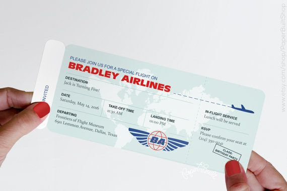 Modern Airplane Birthday Party Airline Ticket by PaperBuiltShop