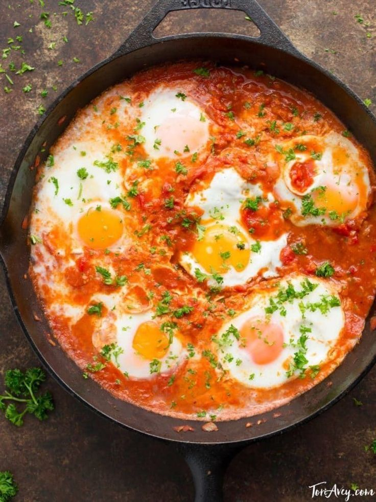 Shakshuka - Recipe and Video - Delicious Middle Eastern egg dish. Vegetarian, Gluten Free, Healthy, Delicious. via @toriavey