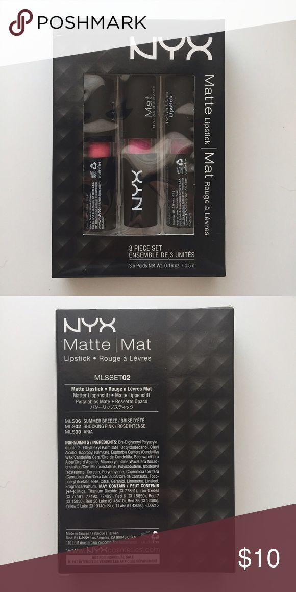 NYX  Matte Lipstick 3 Piece Set NYX 3 piece full sized Matte lipstick set comes in SUMMER BREEZE, SHOCKING PINK,  and ARIA. Brand new, never opened, never swatched. NYX Makeup Lipstick