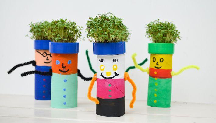 tuinkersmannetjes - knutselen kinderen- wc-rolletjes en dopjes - tuinkers zaaien