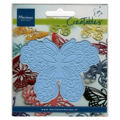 Butterfly 1 - Creatables by Marianne Design - Creatables are stencils for cutting and embossing paper. Always be careful when rolling the Creatables through the machine (there are different ways of stacking). After cutting remove the tiny paper particles from the stencil.
