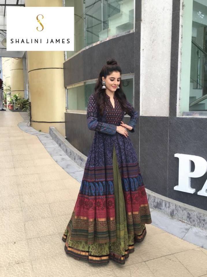 Gorgeous actress Isha Talwar in a Shalini James design at the inauguration of Oxygen Digital store in Trivandrum! Isha looks regal in this 'Indian by Choice' anarkali and skirt ensemble, teamed with beautiful silver jhumkis and a stylish half knot! Isn't she a stunner? Thank you Isha, watching you playfully twirl around in one of our designs brings us so much joy! #shalinijames #shalinijamesmantra #IshaTalwar #IndianbyChoice