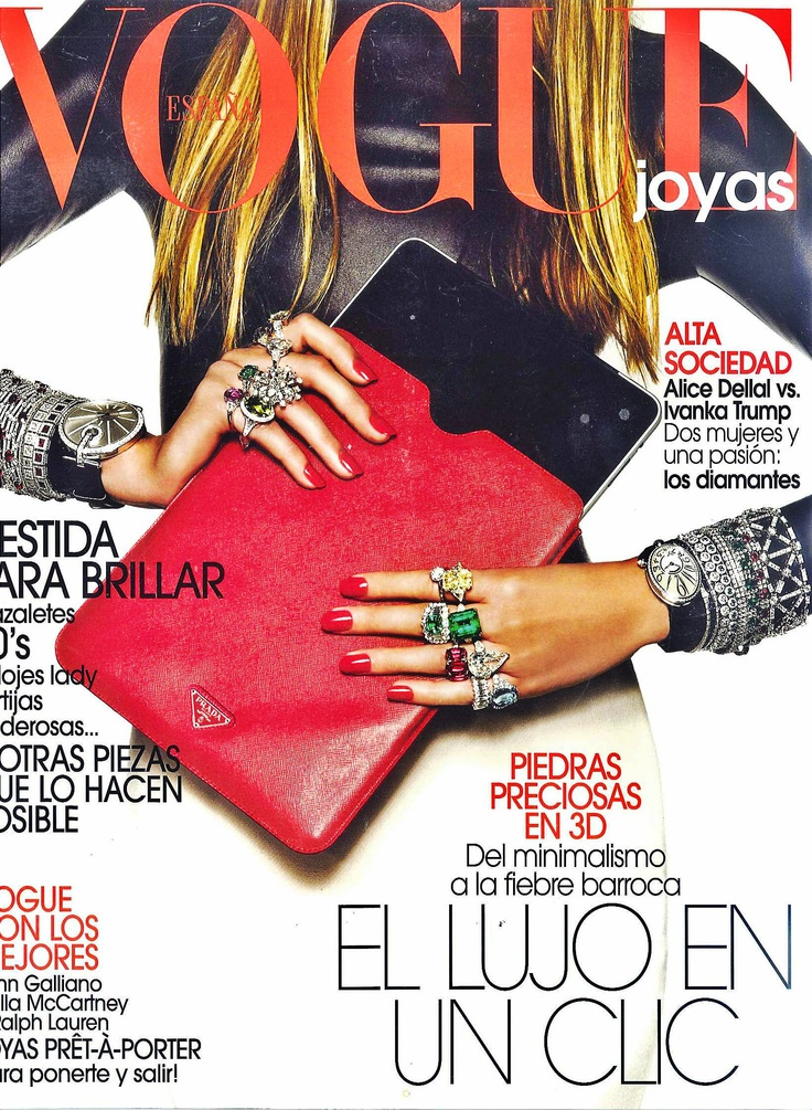 Cover of Vogue Joyas España   Bracelets and rings from white gold with diamonds and rubies by Gayubo