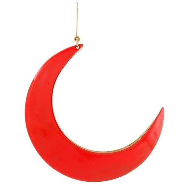 Stella McCartney moon shape earring (£265) ❤ liked on Polyvore featuring jewelry, earrings, red, fish hook jewelry, stella mccartney, fish hook earrings, stella mccartney jewelry and earring jewelry