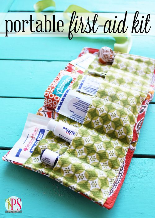 First Aid Kit, I like this idea, you can personalize it to what you want to carry.  Roll it up and put it in a plastic zipper case.  Perfect!