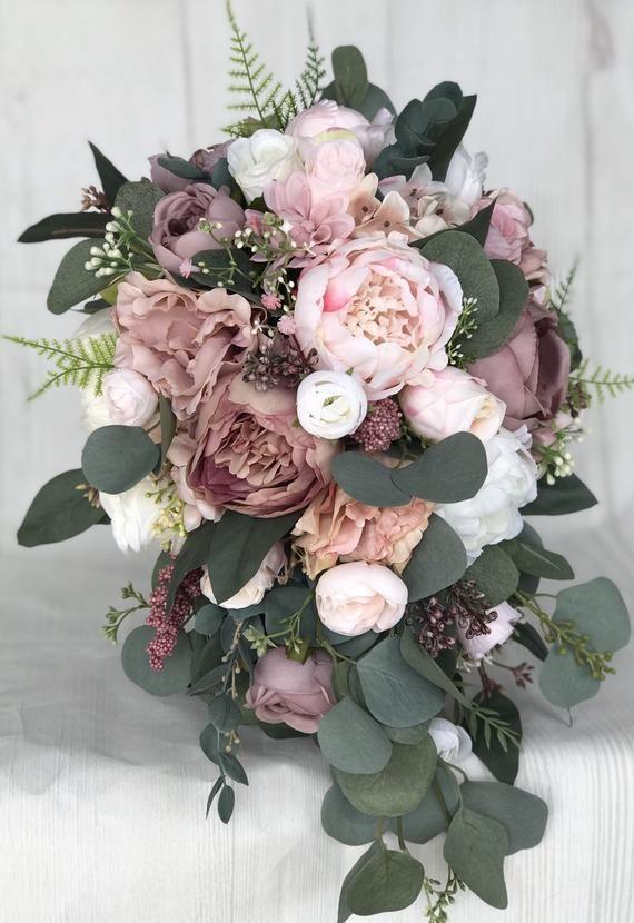 Brautstrauß, Dusty Rose Brautstrauß, Blumenstrauß, erröten Hochzeit Bouquet, Mauve/Dusty Rose Hochzeit Blumen, Seide Brautstrauß – Hochzeitskleid
