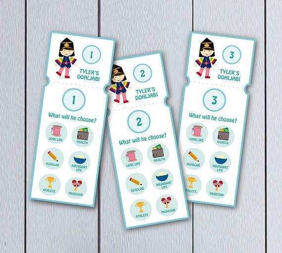 Cuadro para celebración de primer cumpleaños coreano: ticket para rifa de doljabi board. Es un producto personalizable por favor indique los datos que
