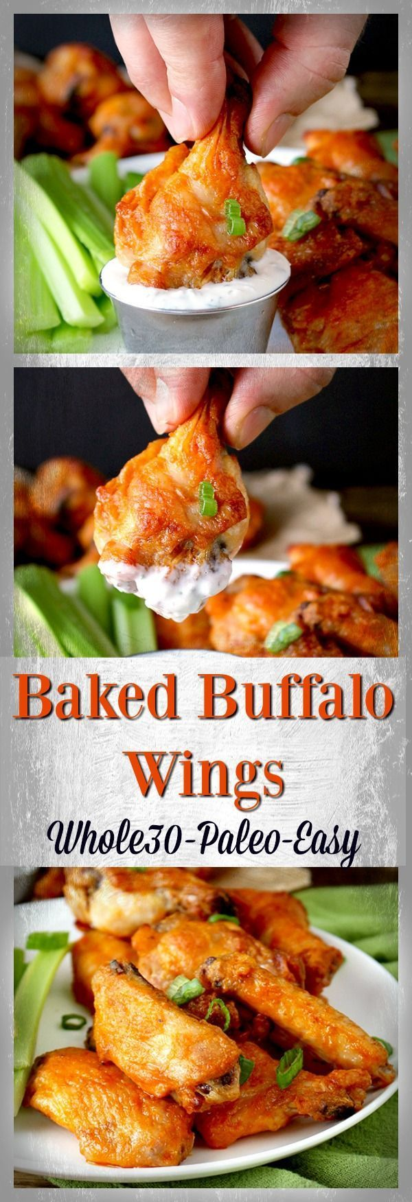 Paleo Baked Buffalo Wings- crispy, juicy, easy, healthy, and delicious! Whole30, dairy free, and gluten free. Uses ghee in place of the butter.