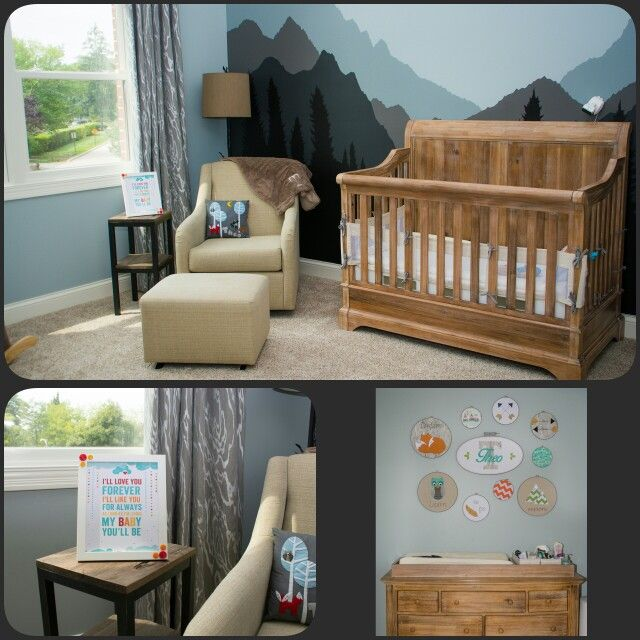 Mountain lodge nursery, woodland nursery, baby boy rustic nursery