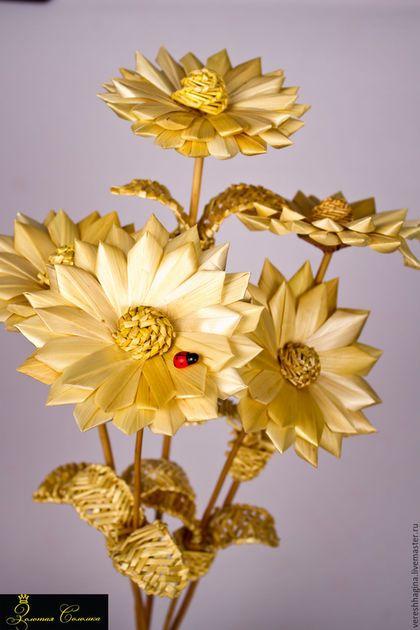 """Сувениры ручной работы. Ярмарка Мастеров - ручная работа. Купить Цветок """"Циния"""" из соломки. Handmade. Желтый, букет в подарок, лоза"""