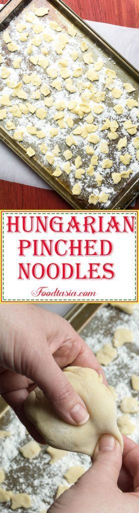 ! – instant comfort food.voilàHungarian Pinched Noodles – Csipetke – are an easy to make egg noodle in the shape of a dumpling. Simply pinch small pieces off of ball of noodle dough, drop into boiling water, and cook until al dente. Add Hungarian Pinched Noodles to soups and stews and