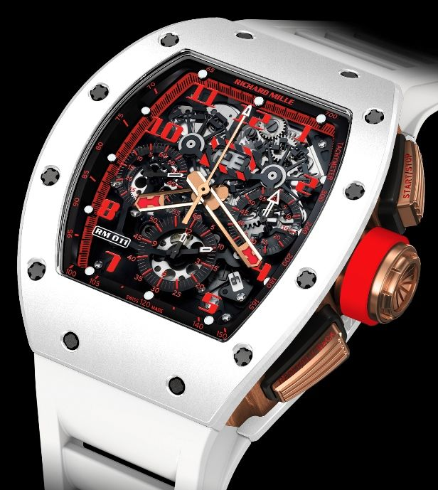 Richard Mille RM11 White Demon ($170,000) in white ceramic and red gold