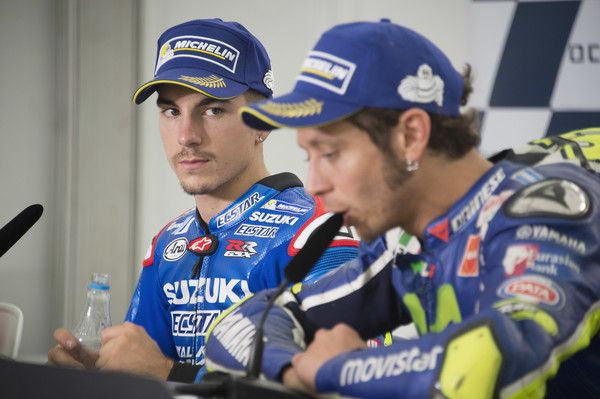 Maverick Vinales Photos Photos - Maverick Vinales of Spain and Team Suzuki ECSTAR looks on during the press conferecnce at the end of the MotoGP race during the MotoGp Of Great Britain - Race at Silverstone Circuit on September 4, 2016 in Northampton, England. - MotoGp of Great Britain - Race