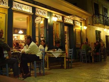 Dining by the port in Greece