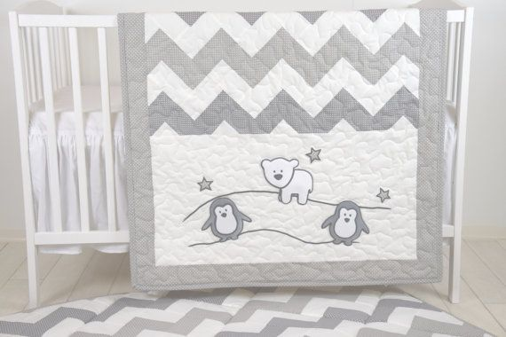 Penguin Baby Quilt Chevron Gray Toddler by Customquiltsbyeva