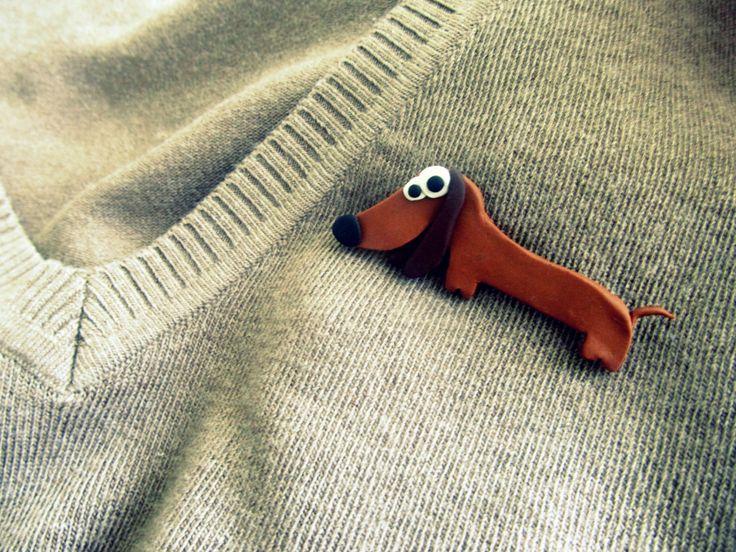 Polymer clay dog brooch
