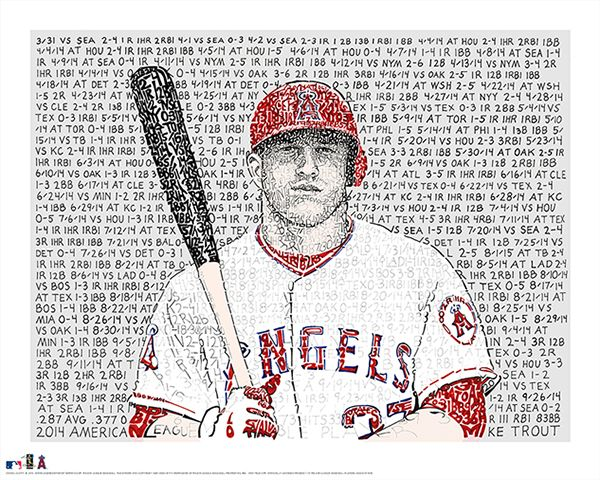 "Mike Trout 2014 AL MVP. I hand wrote all of Trouts batting stats from his MVP season. HRs, RBIs, Hits, SB, 2Bs, 3Bs.  Don't forget he's a die hard Eagles fan!  16""x20"" Fine Art Prints  Available now on Phillywordart.com!"