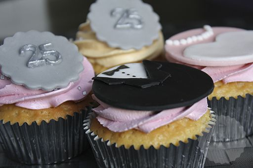 Zilveren cupcakes – decoratie manier