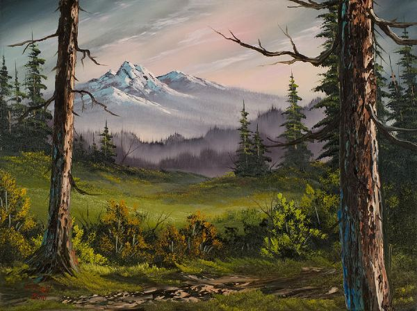 bob ross meadow view paintings