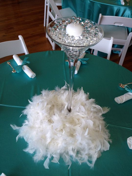 Martini glass feathers centerpiece tiffany blue theme