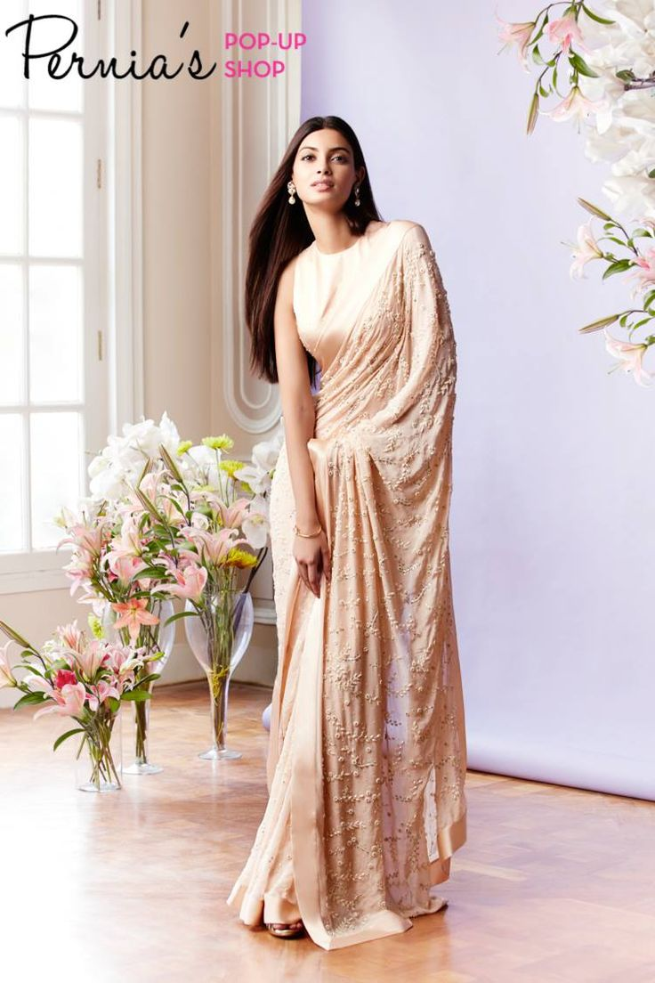 Diana Penty In a Soft Peach Pearl & Crystal Floral Embroidered #Saree With Pearl Sprinkle Sleeveless #Blouse By Pernia Qureshi. Available Only At Pernia's Pop-Up Shop.