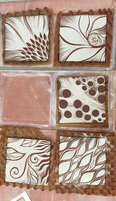 Abstract designs sgraffito carved at Natalie Blake Studios in Vermont