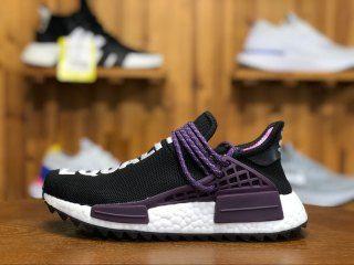 8c8fa1e65a2 Mens Womens Pharrell Adidas NMD Hu Holi Powder Dye Equality Black Purple  AC7033 Running Shoes