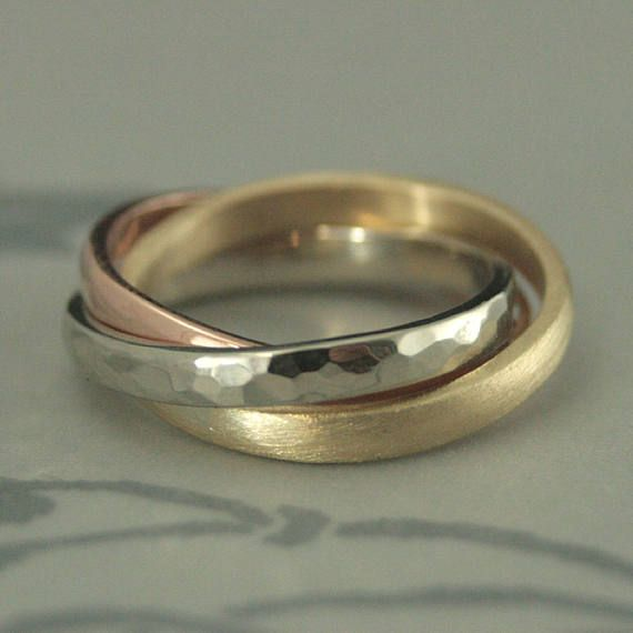 TriColor Rolling Ring--Russian Wedding Band--Interlocking Bands--MultiColored Ring--2.5mm Wide Bands--Textured Rolling Ring--Hammered Band