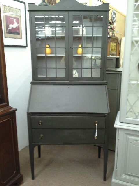 $179   This Vintage Secretary Has Two Drawers In The Base And Glass Doors  In The Top. The Center Of The Cabinet Is The Drop Front Secretary And It  Has Two ...