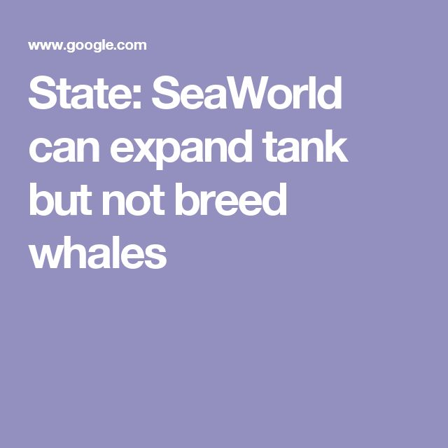 State: SeaWorld can expand tank but not breed whales
