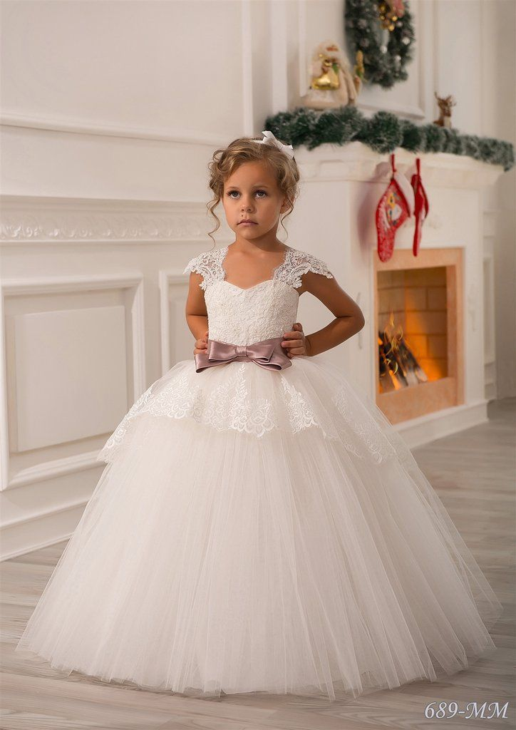 29a5ca11 AGATHA A beautiful princess dress for flower girls from 1 year to 14 years  old. The tulle lace gown feat... From $228.00 USD #Boutique #Dresses #Ivory  ...