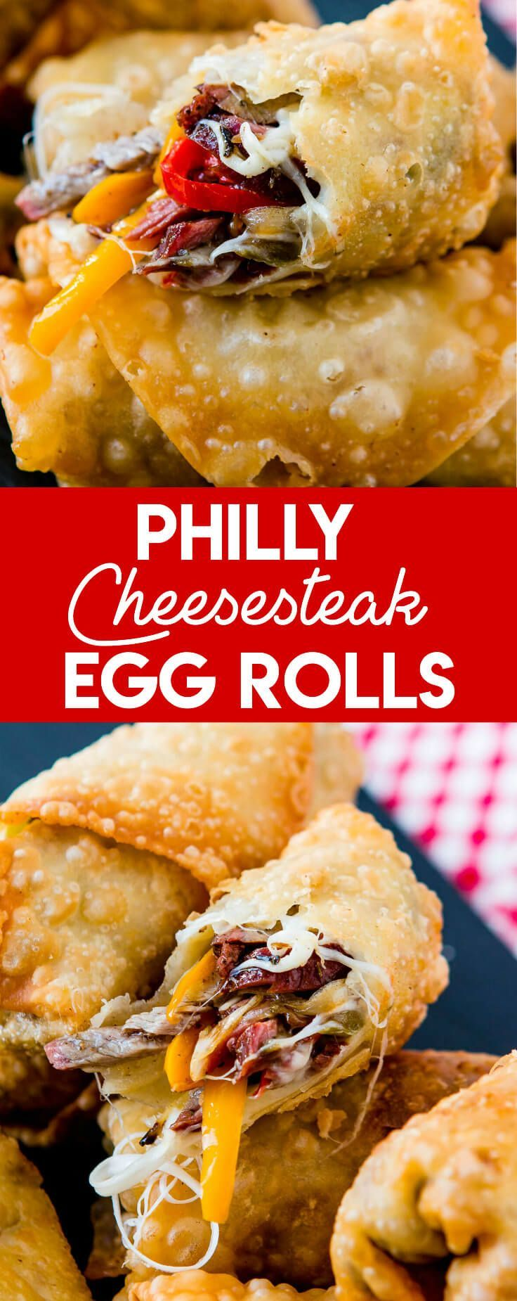 Who wouldn't love a crisp, fried egg roll full of meat and cheese? These Philly Cheesesteak Egg Rolls are perfect for football games and parties! via @ohsweetbasil