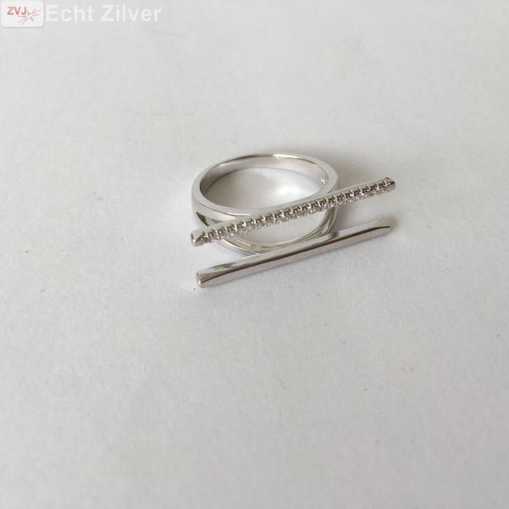 Zilveren dubbele staaf rij zirkonia ring - ZilverVoorJou Echt 925 zilveren sieraden