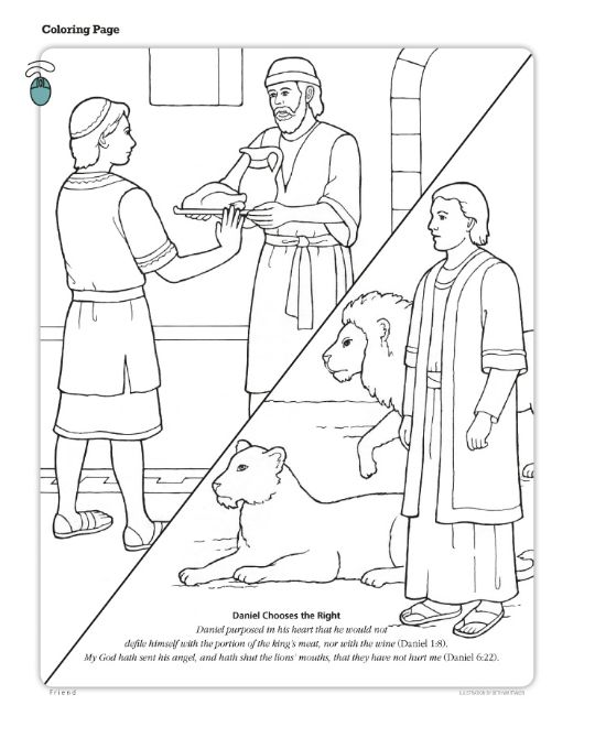 Daniel Chooses The Right LDS Friend Magazine Coloring Page