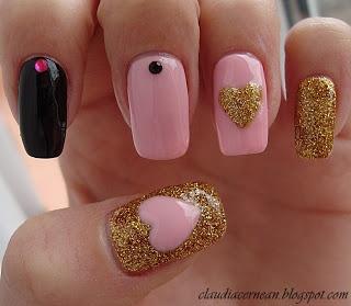 Nails Art Tutorials: Unghii Roz cu Auriu - Pink and Gold Nails