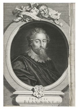 Francis Beaumont, from Comedies and Tragedies Written by Francis Beaumont and John Fletcher Gentlemen, 1647. (also see the pin for John Fletcher's portrait from this volume)